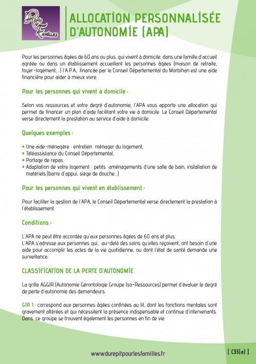 C33 a allocation personnalisee d autonomie apa