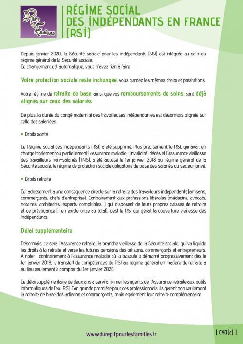 C40 c regime social des independants en france rsi