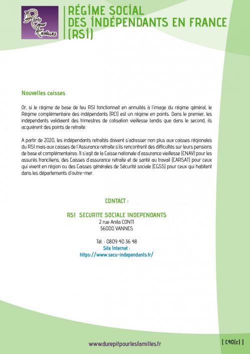 C40 c regime social des independants en france rsi 2
